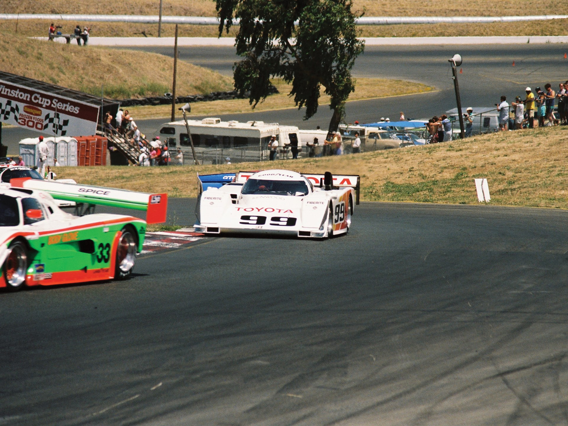 The #99 AAR-Toyota Eagle HF89 driven by Juan Fangio II, California Camel GP, Sears Point Raceway, July 15, 1990.