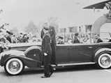 1939 Chrysler Custom Imperial Parade Phaeton by Derham - $King George VI and Queen Elizabeth during their visit to New York World's Fair. Note the addition of bullet proof glass and rear-facing jump seats.