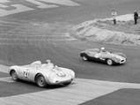 1957 Porsche 550A Spyder by Wendler - $Julius Voigt-Neilsen in 550A-0121 chases Ian Raby in his Cooper Climax at Roskilde, Denmark in September of 1957.