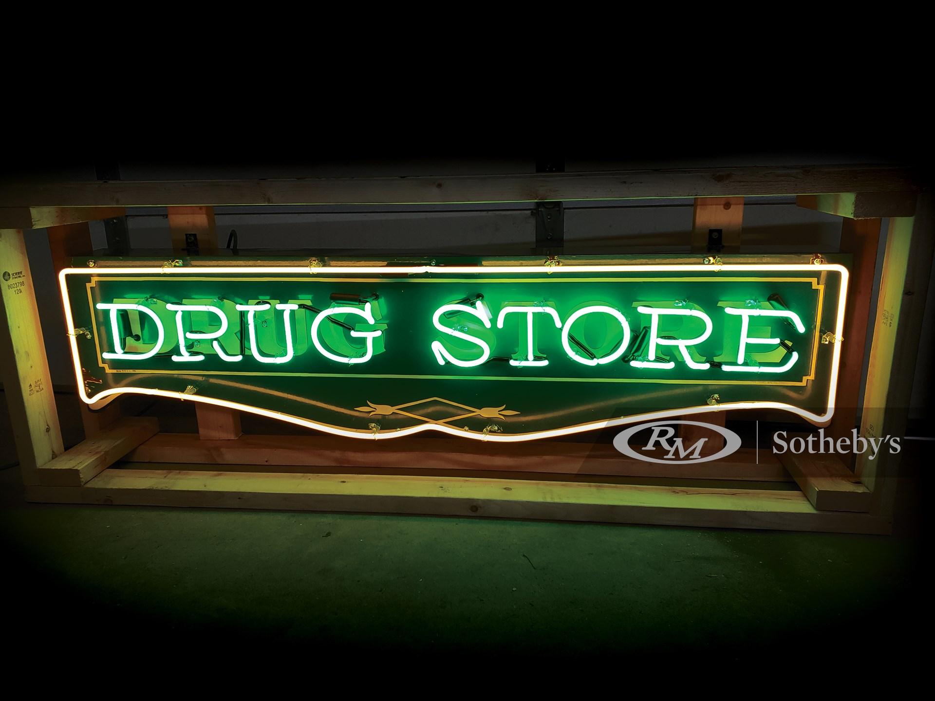 Drug Store Neon Porcelain Sign -