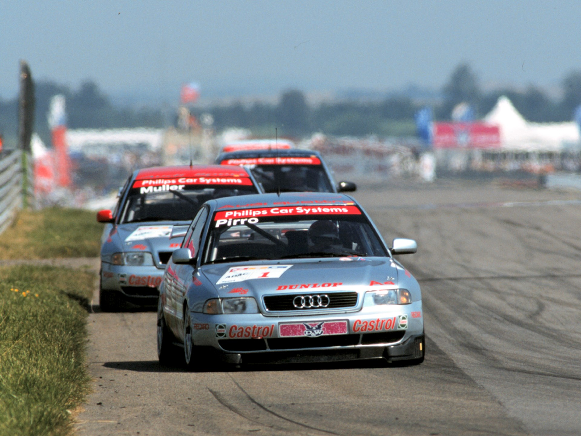 Emanuele Pirro behind the wheel of his Audi during the 1997 ADAC SuperTourenwagen Cup Series.