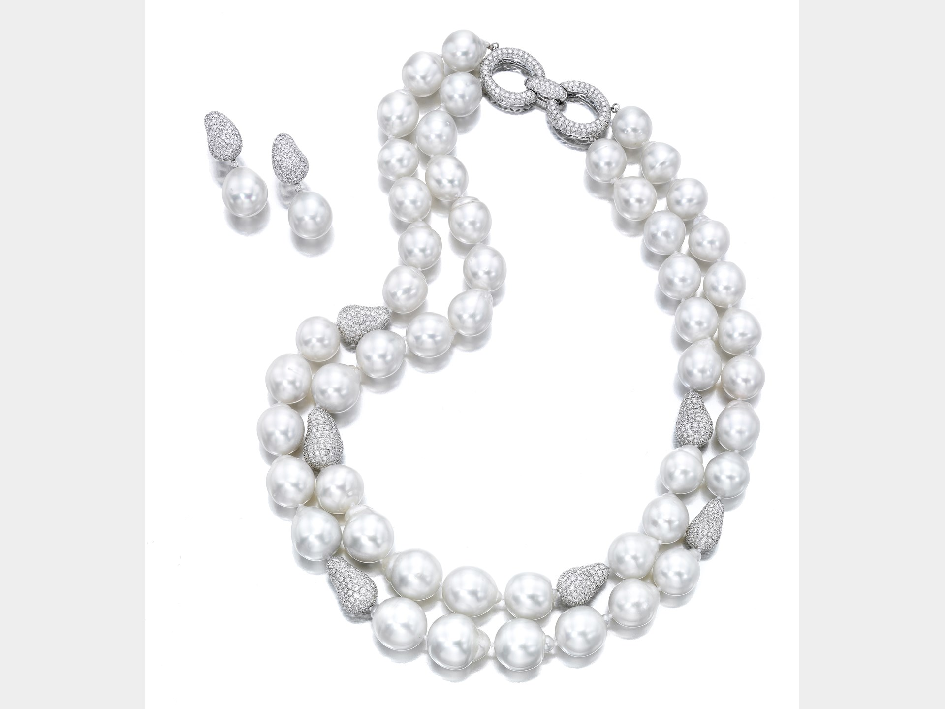 Cultured Pearl and Diamond Necklace and a Pair of Pendant-Earrings