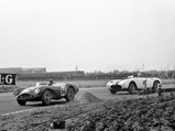1953 Aston Martin DB3S Works  - $Peter Collins leads in DB3S/2 at Aintree, ahead of Masten Gregory in his Ferrari 375MM.