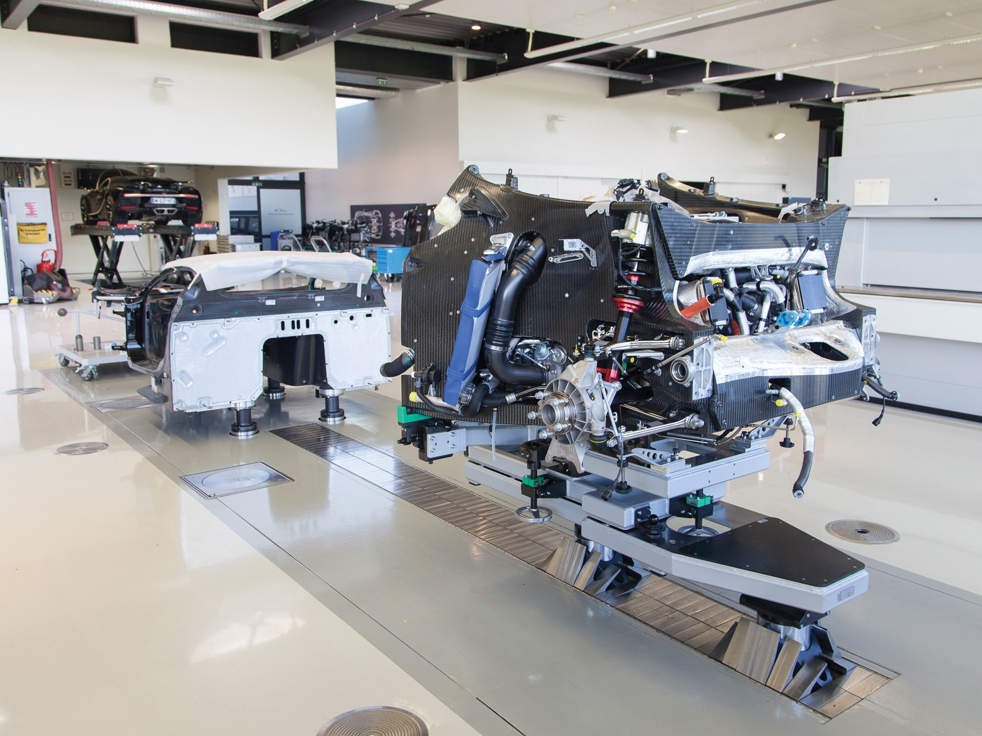 Chassis 069 during production at Bugatti's facilities in Molsheim, France.