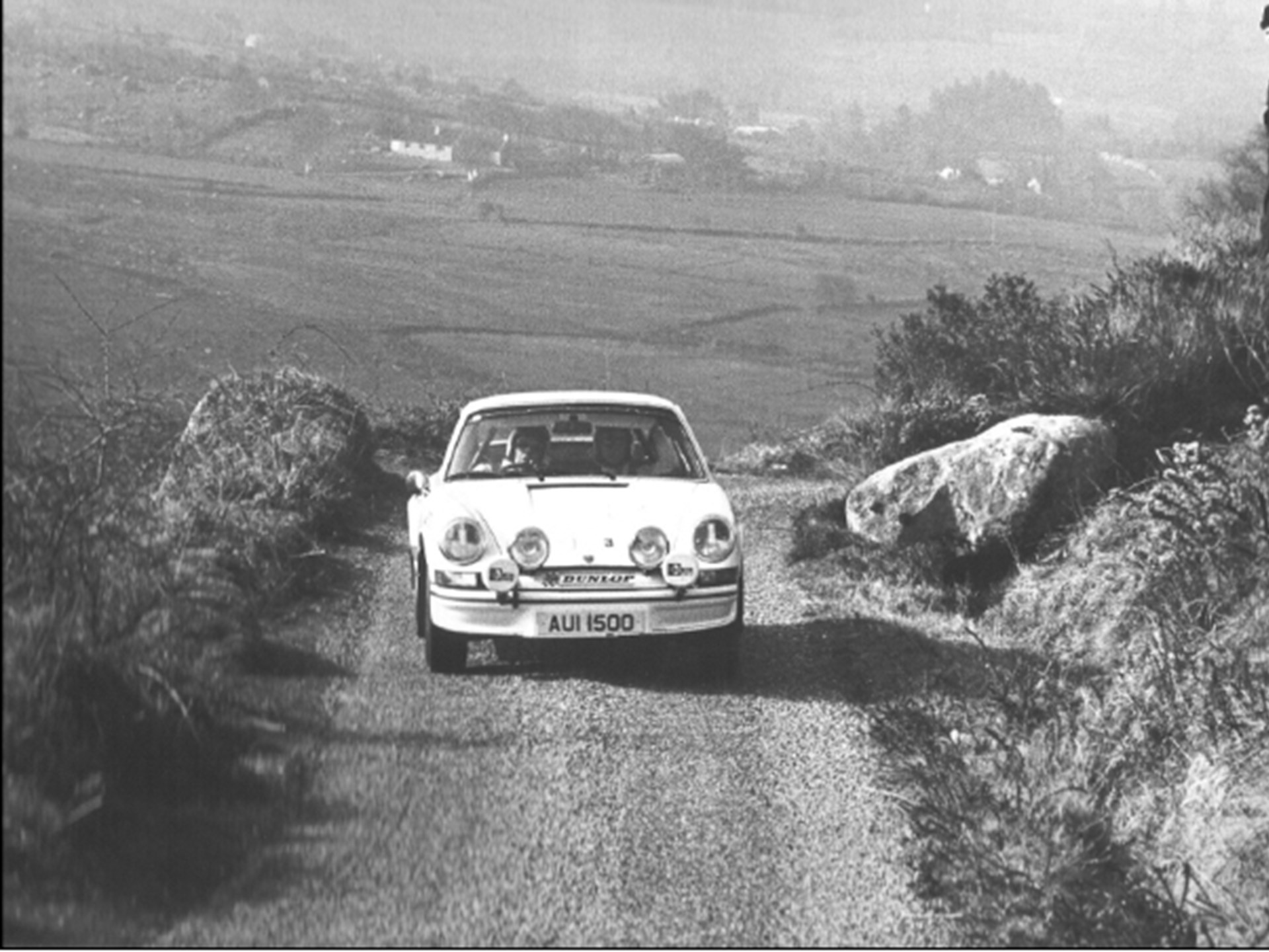 Cathal Curly at the wheel of AUI 1500 driving towards 1st place at the 1974 Circuit of Ireland Rally.