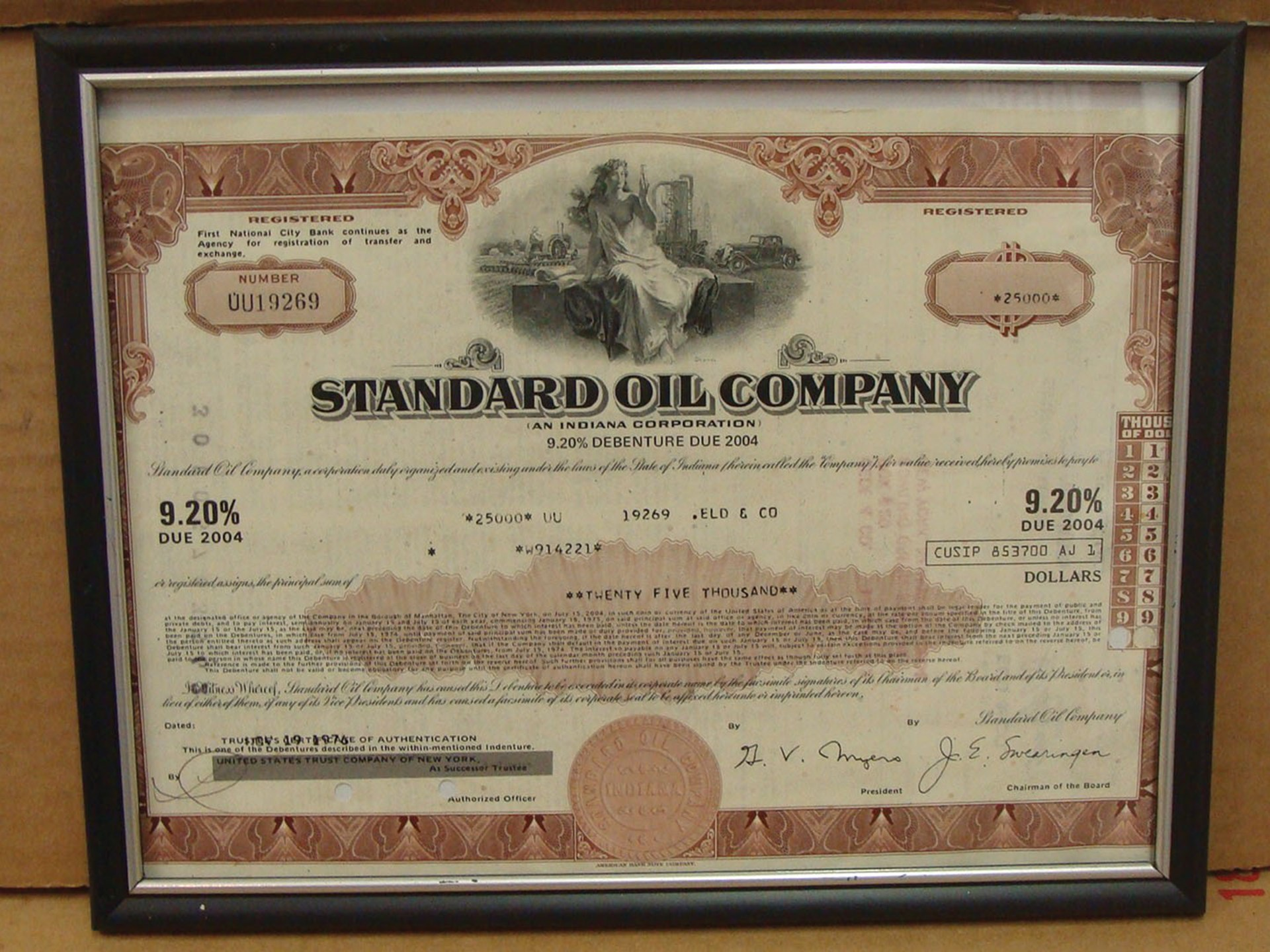 RM Sotheby's - Original 1976 Standard Oil Company Stock Bond