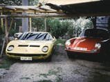 1969 Lamborghini Miura P400 S by Bertone - $Chassis number 4245 parked at Karl Weber's home with his 911 in 1974.