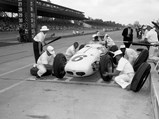 """1961 Ewing """"Dean Van Lines Spl."""" Indianapolis Roadster  - $Eddie gets a set of fresh tires, some quick advice, and a cold drink during a pit stop at the 1960 Indianapolis 500."""