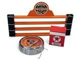 Harley-Davidson Oil Can Display and Clock and Texaco Windshield Service Display - $
