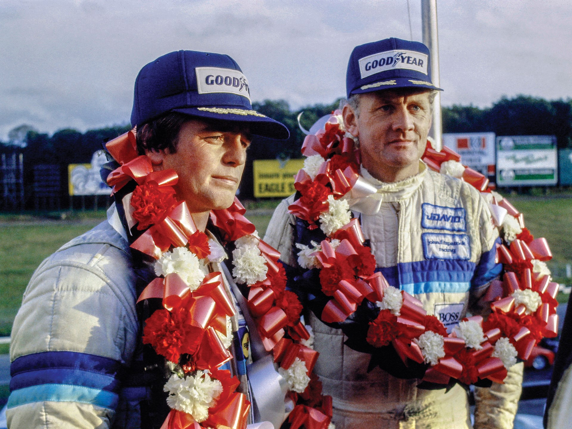 Warwick and Fitzpatrick celebrate their win at Brands Hatch in 1983.