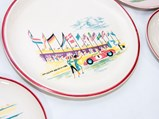 Porsche Ceramic Plates, Factory Gifts by Ulmer Keramik, ca. early-1960s - $