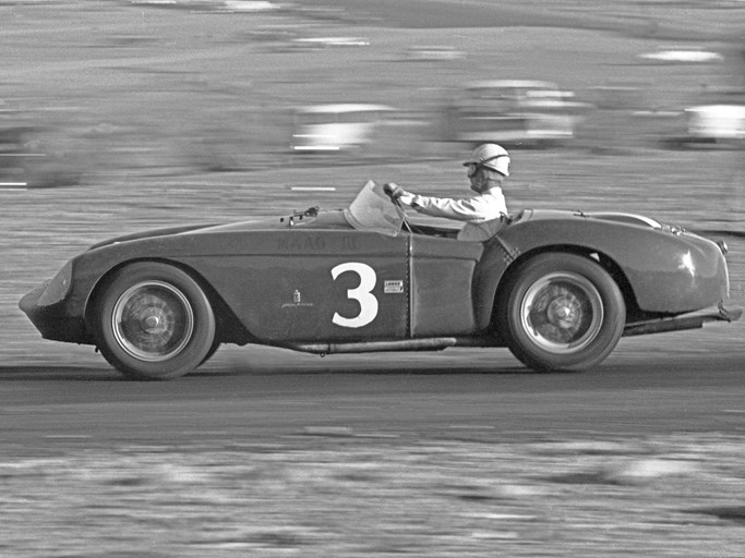 Pat O'Connor behind the wheel of 0448 MD at Willow Springs in March of 1956.