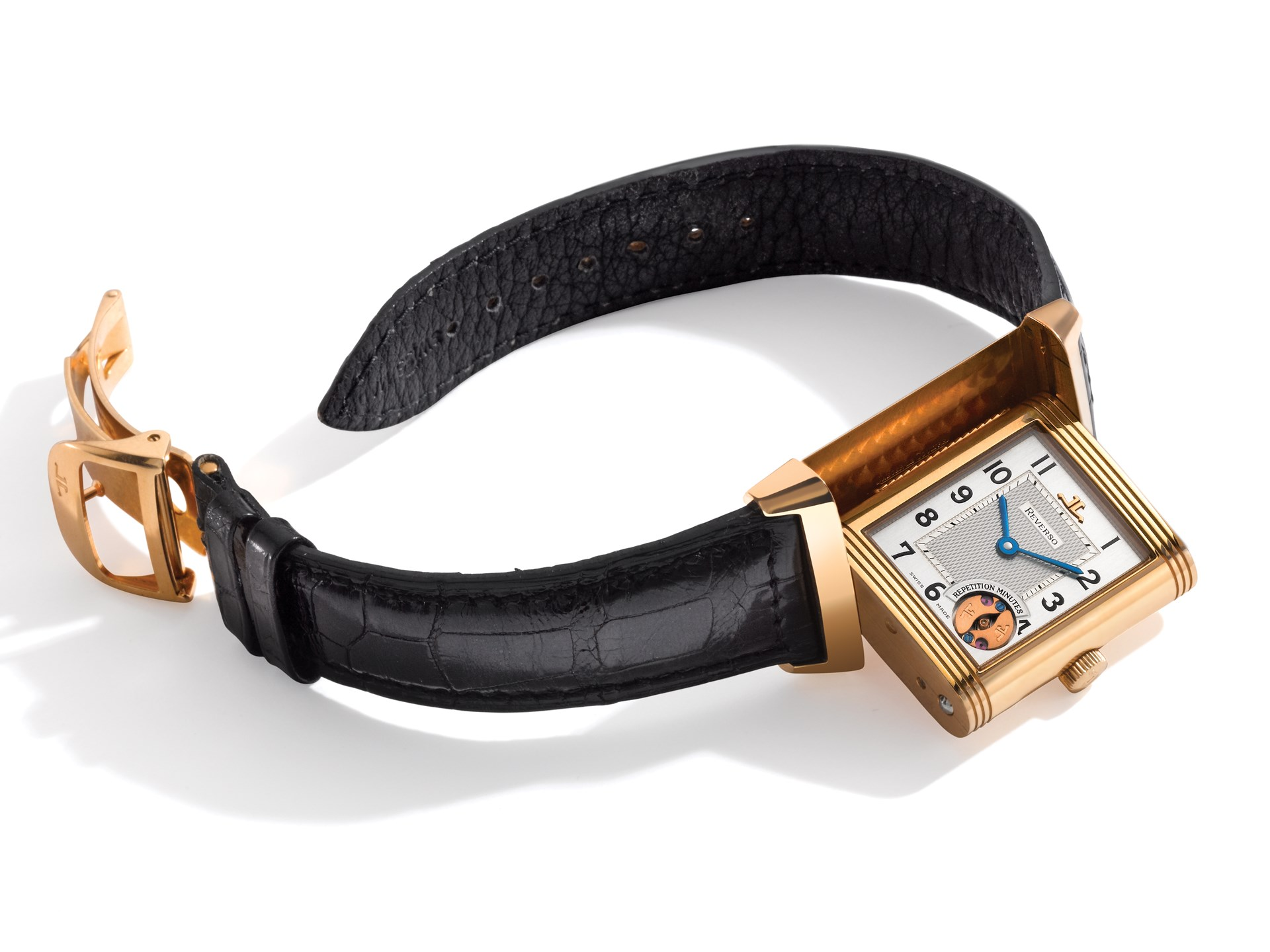 Jaeger-LeCoultre, Pink Gold Rectangular Reversible Minute Repeating Wristwatch
