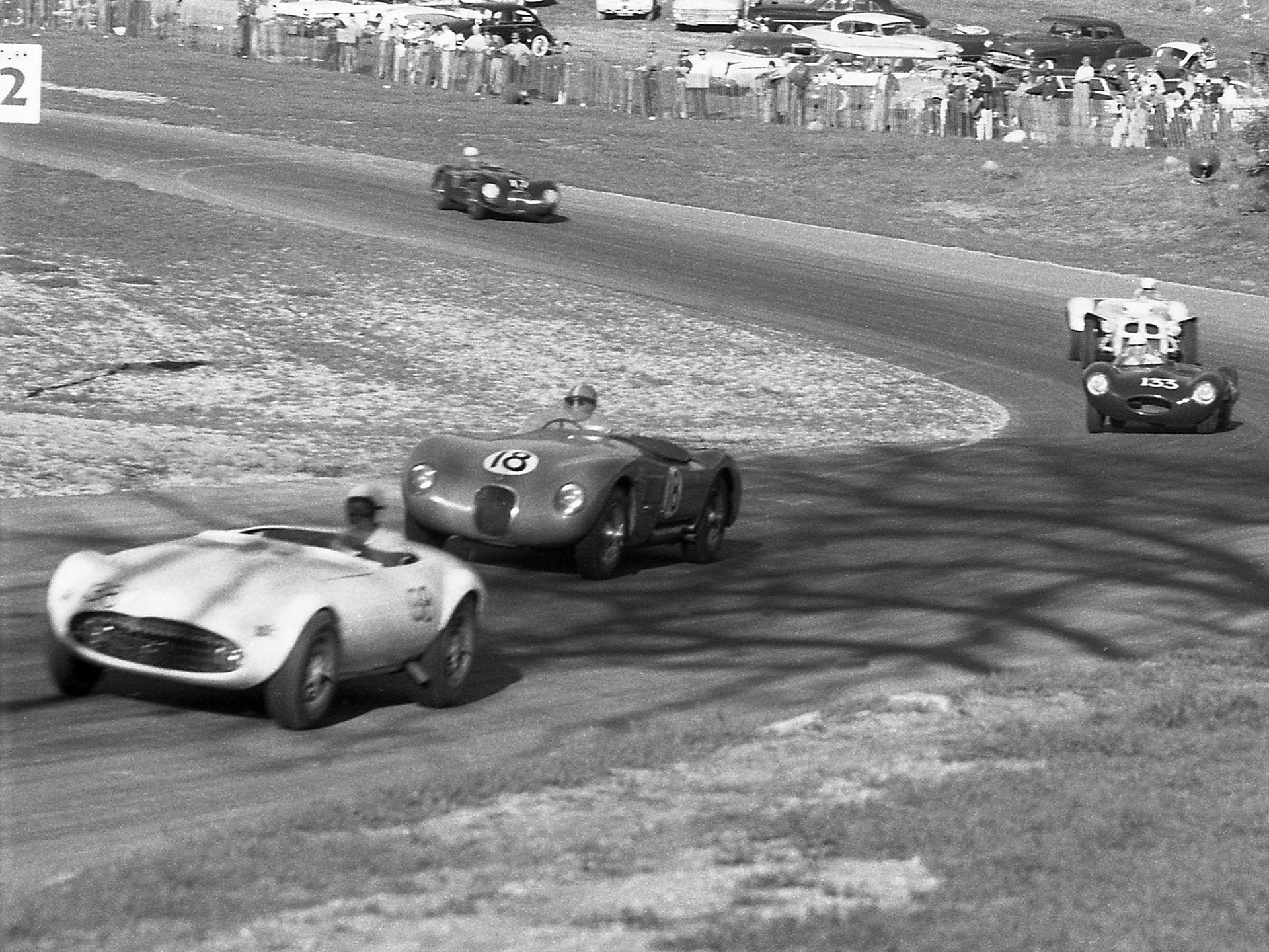 XKC 007 powers up the hill at Paramount Ranch on March 10, 1957 where it finished 7th overall.