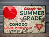 Conoco Winter and Summer Grade Double-Sided Tin Sign - $