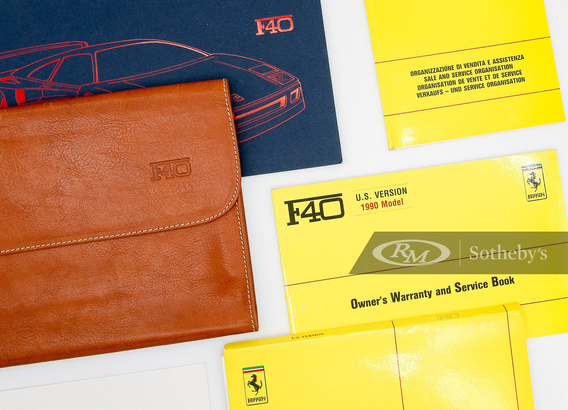 Ferrari F40 Owner's Manual Set with Folio US Version 1992 available at RM Sotheby's Online Only Open Roads April Auction 2021