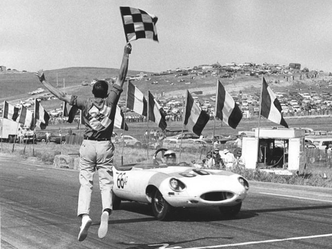 Merle Brennan takes the checkered flag at Laguna Seca, June 9, 1963.