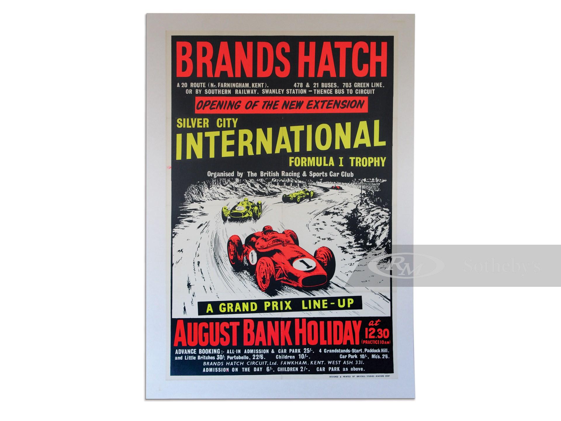 """""""Brands Hatch Silver City International Formula I Trophy"""" Vintage Black Light Style Event Poster, ca. 1961 -"""