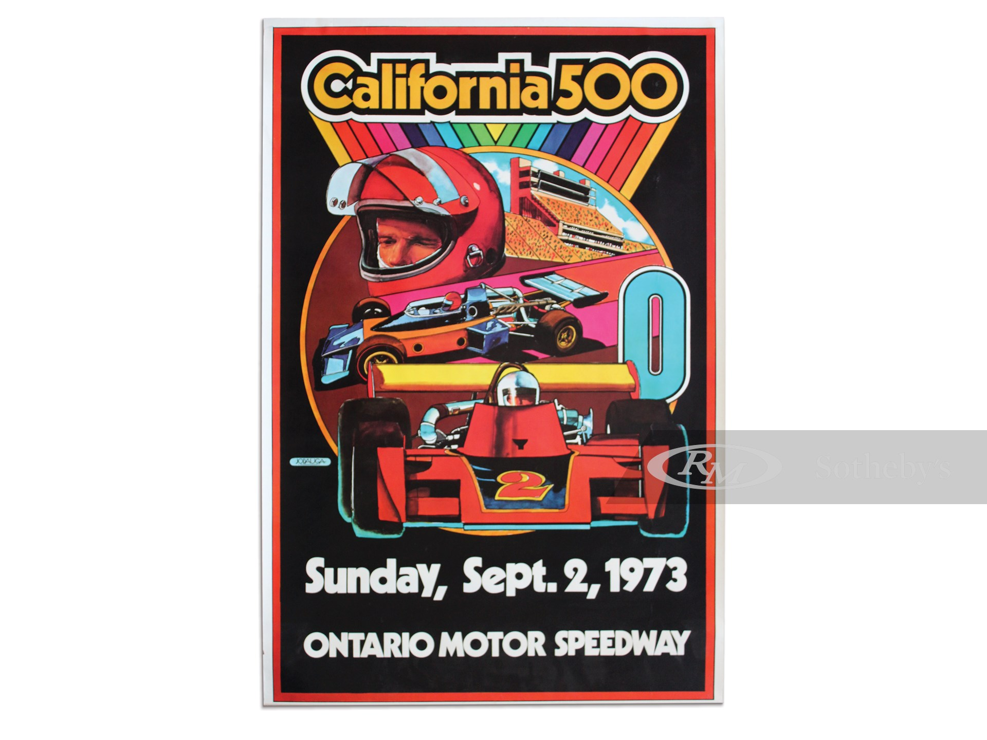 """California 500 Sunday, Sept. 2, 1973"" Ontario Motor Speedway Vintage Event Poster -"