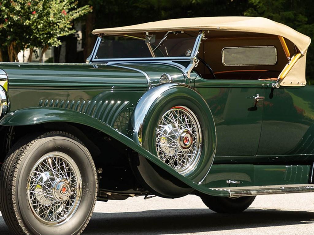 1931 Duesenberg Model J Roadster Green Hornet offered at RM Sothebys Hershey Live Collector Car Auction 2021