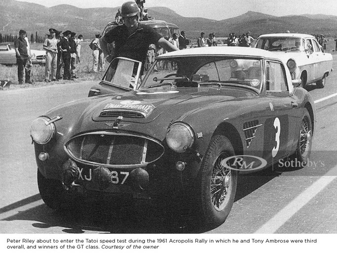 Peter Riley about to enter the Tatoi speed test during the 1961 Acropolis Rally in which he and Tony Ambrose were third overall, and winners of the GT class.