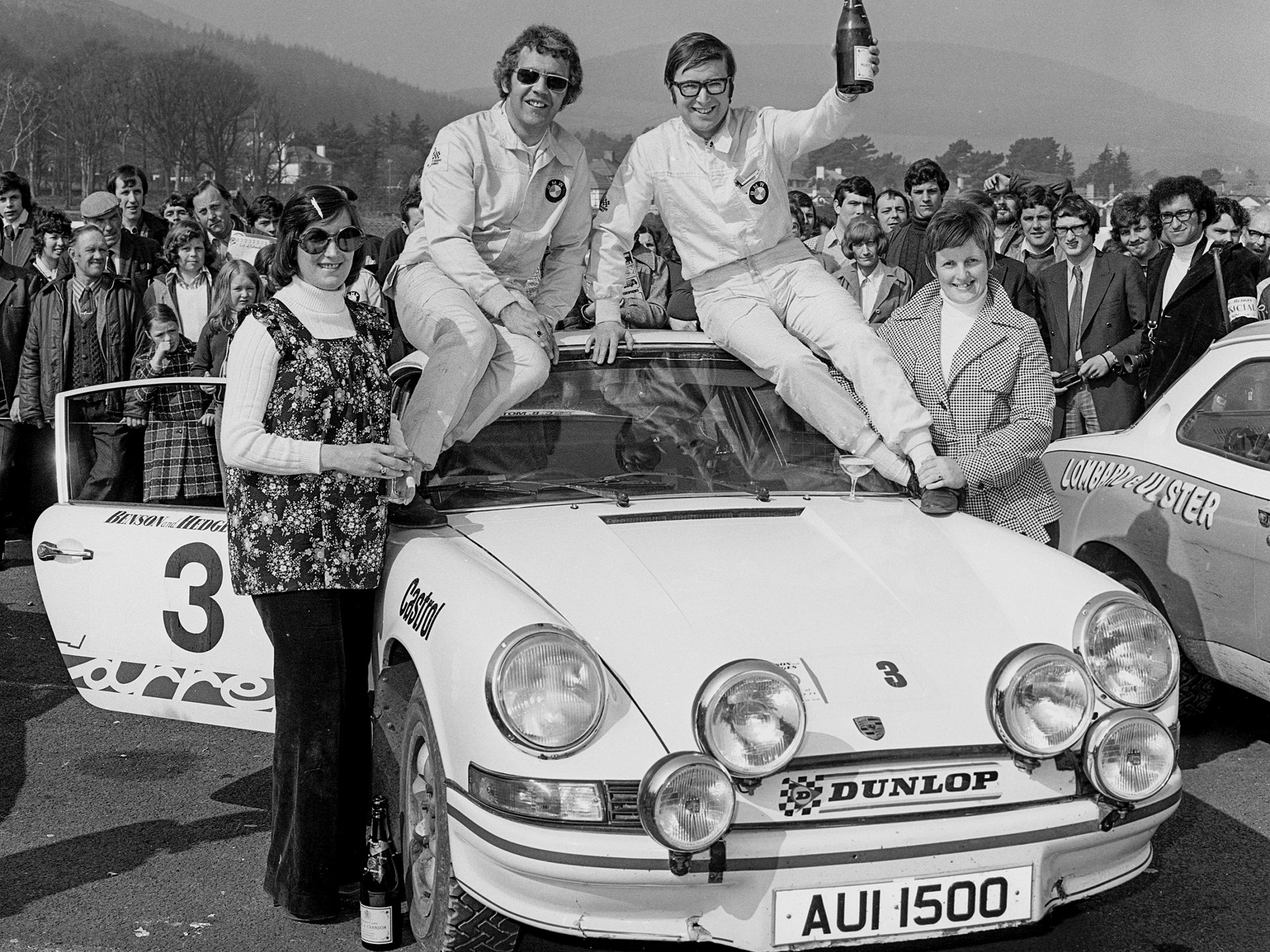 Cathal Curly celebrating his victory at the 1974 Circuit of Ireland Rally.