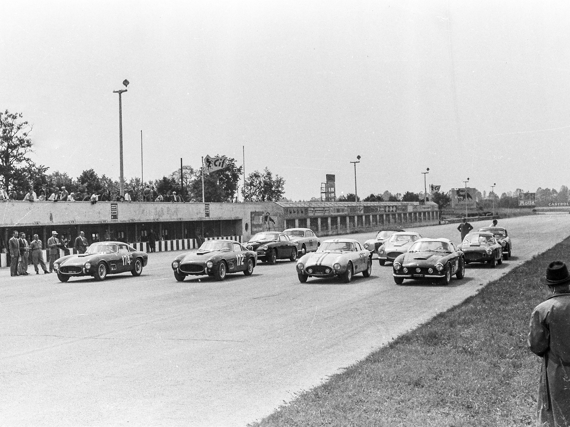 Chassis no. 0507 GT lines up for the start of the 1957 Coppa Lombarda in Monza where it finished 2nd overall.
