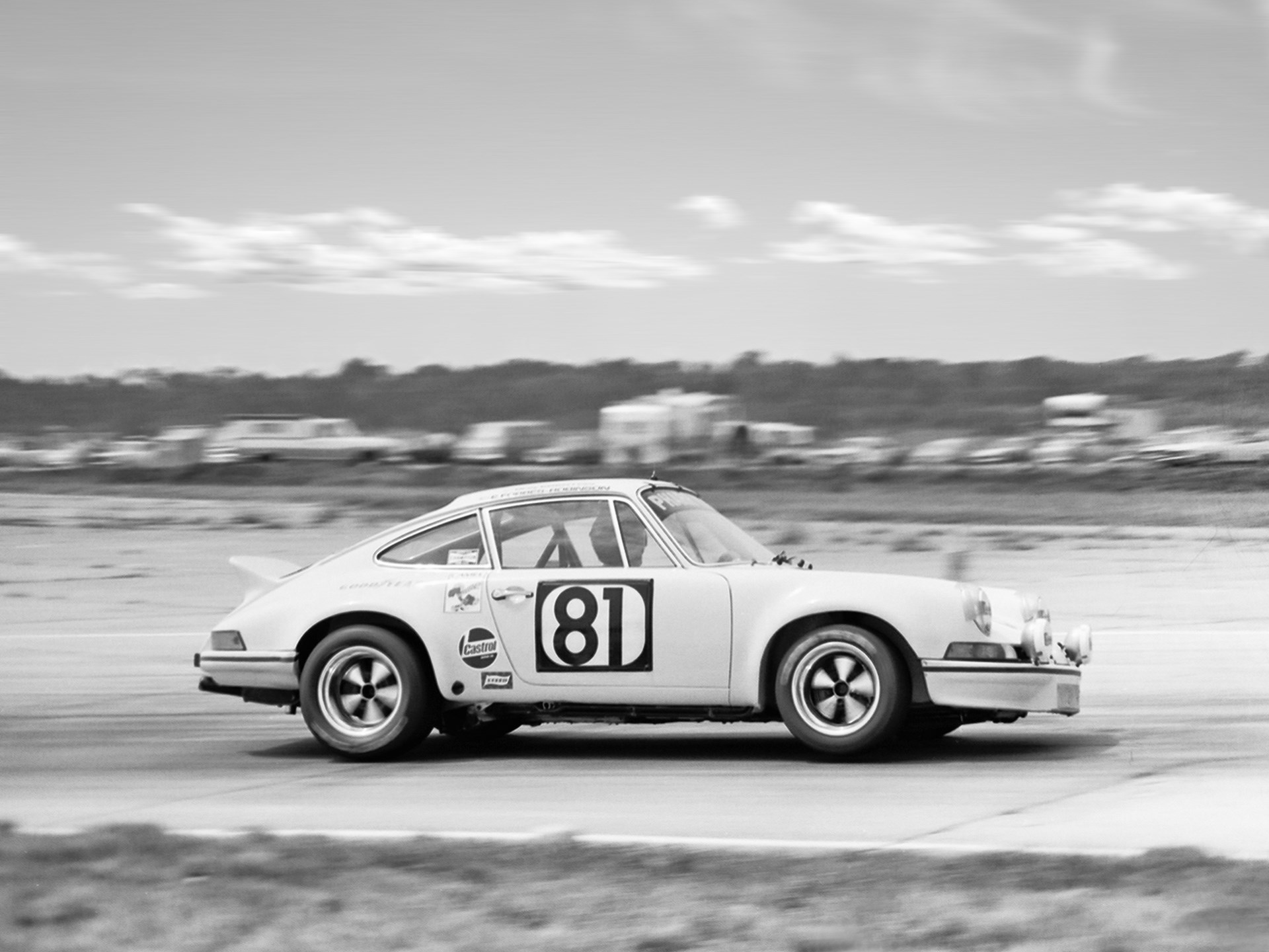 The 2.8 RSR exiting turn 11 at the 12 Hours of Sebring in 1973.