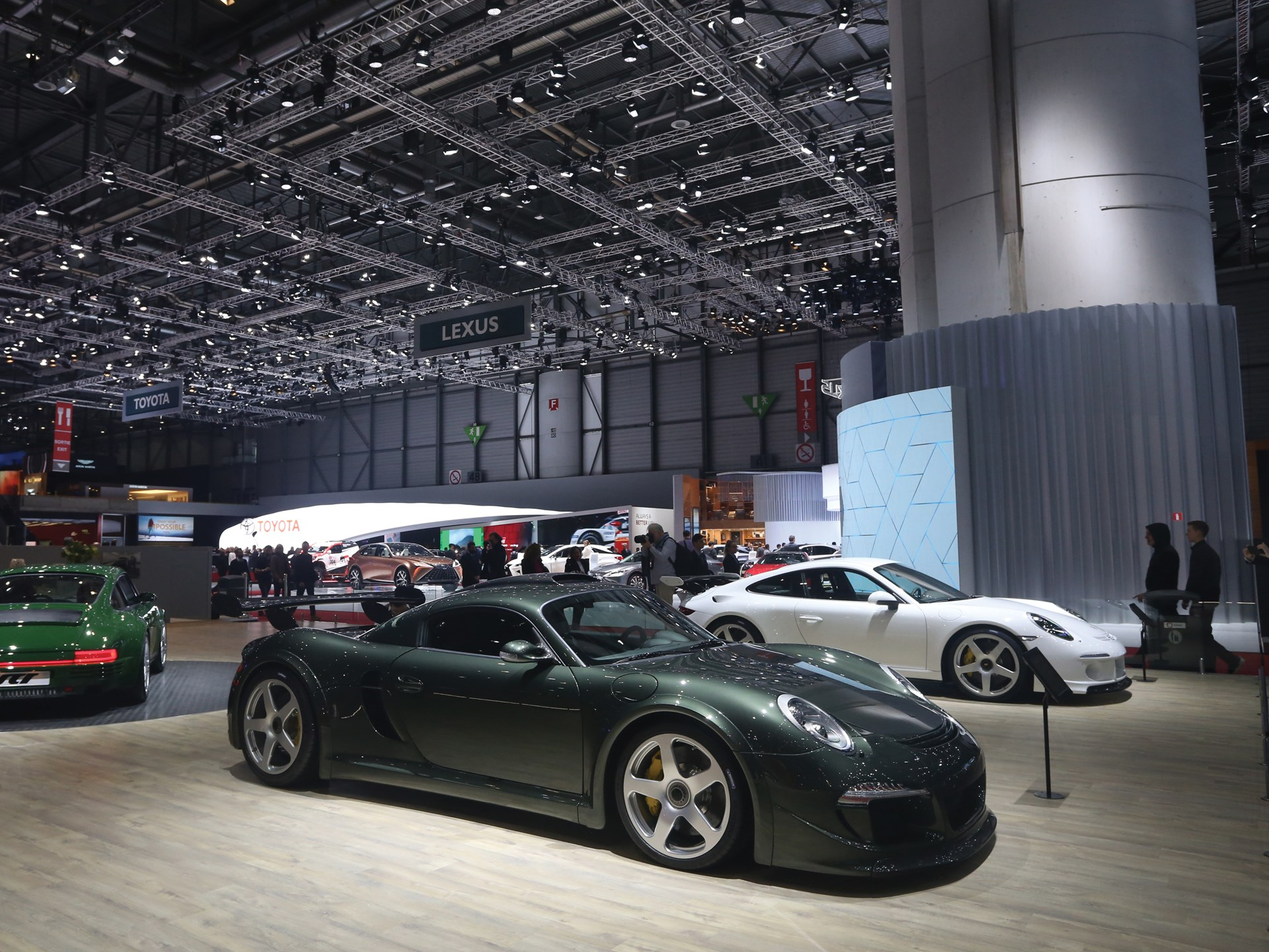 The RUF CTR3 on RUF's stand at the 2018 Geneva Motor Show.