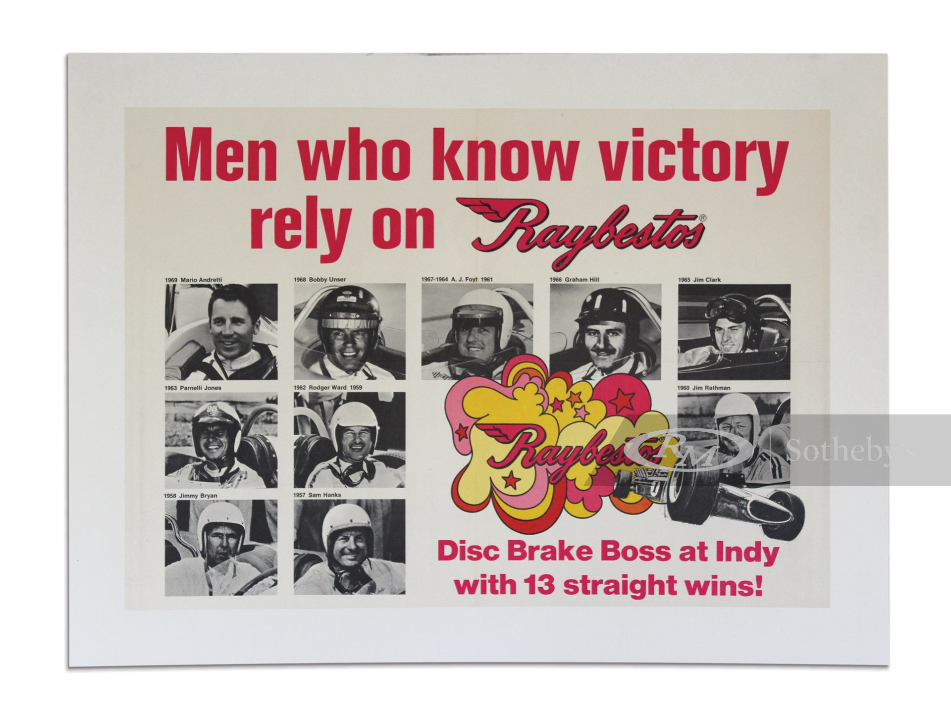 """""""Men who know Victory rely on Raybestos"""" Indy 500 Champion Poster, 1969 -"""