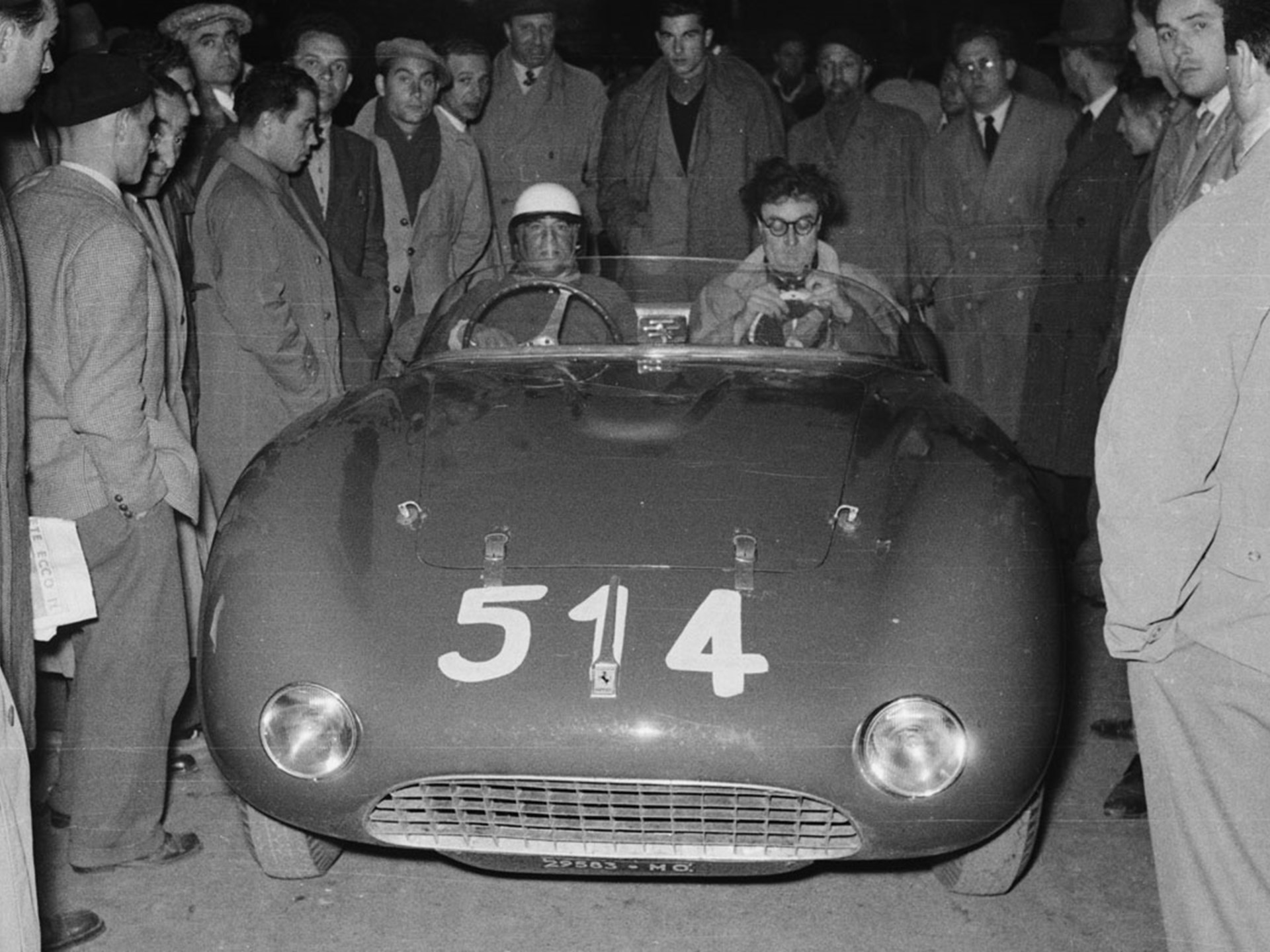 Driver Alberico Cacciari alongside R.H. Bill Mason in chassis 0272 at the 1953 Mille Miglia.