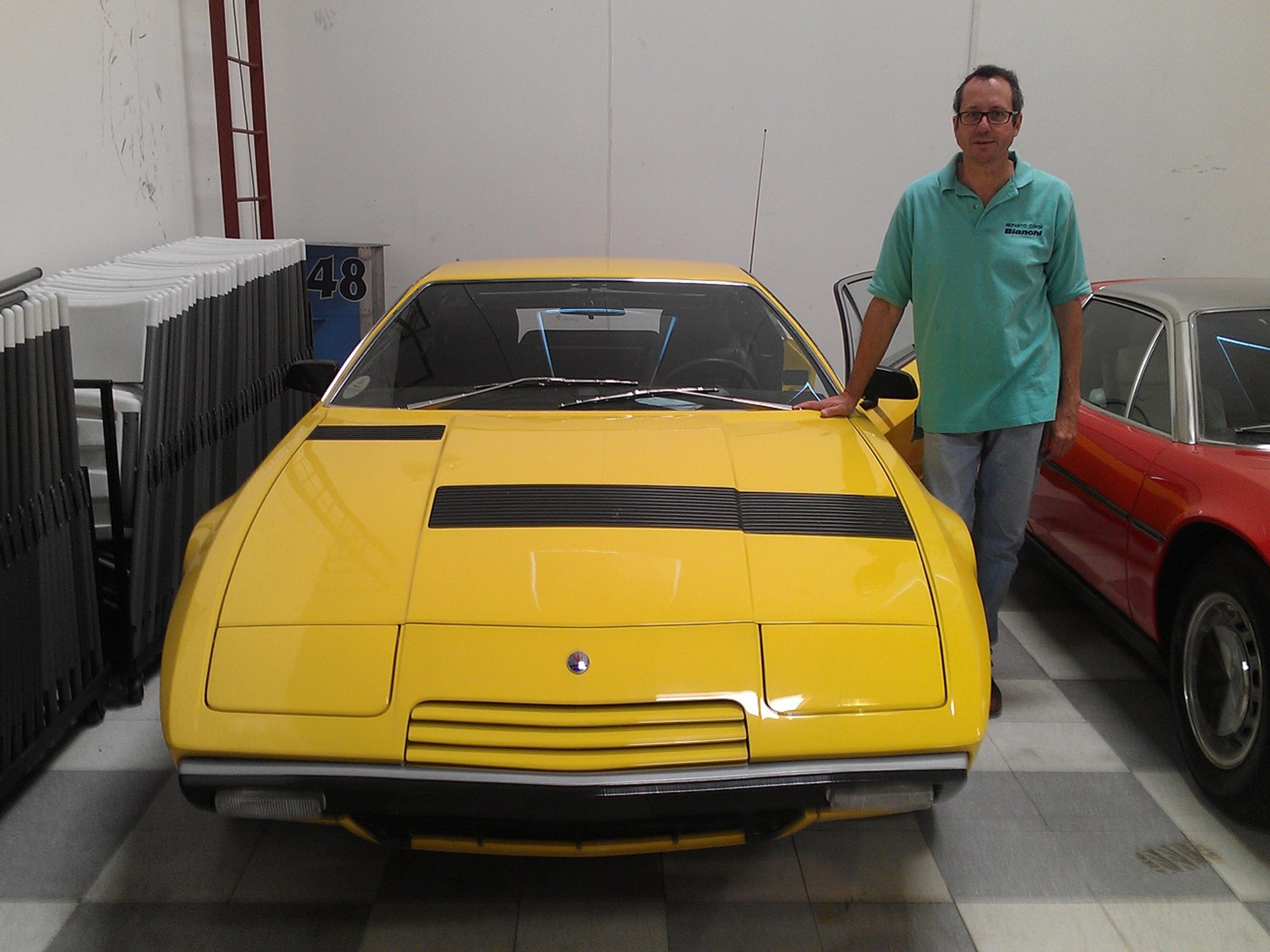 Doug Magnon pictured with his Maserati Khamsin in the Riverside International Automobile Museum in April of 2013.