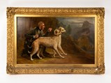The Marquis of Huntly's Pair of Deerhounds, Narren and Gaivney, on Highland by Charles West Cope - $