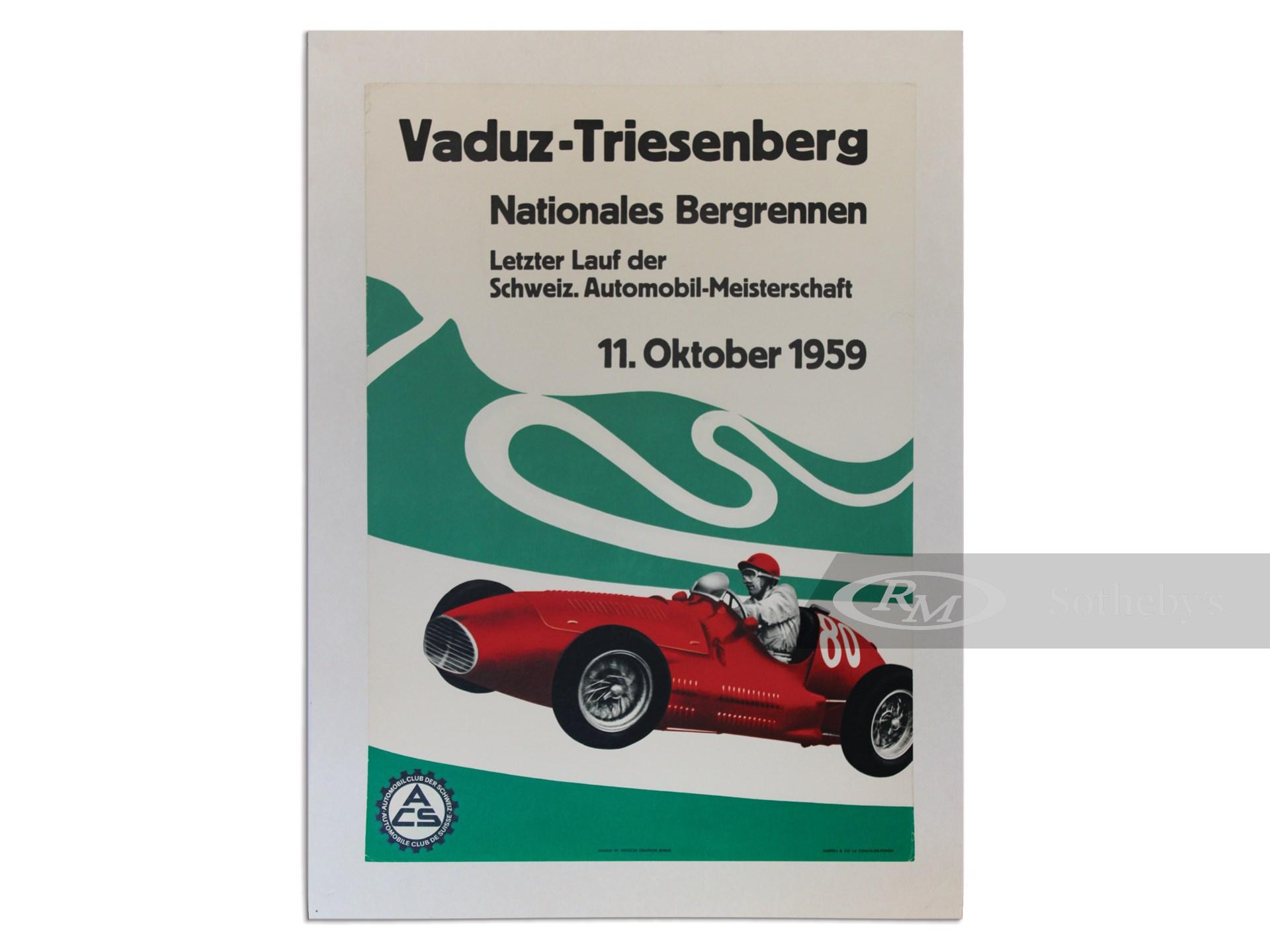 """Vaduz-Triesenberg, Nationales Bergrennen"" October 11, 1959 Event Poster -"