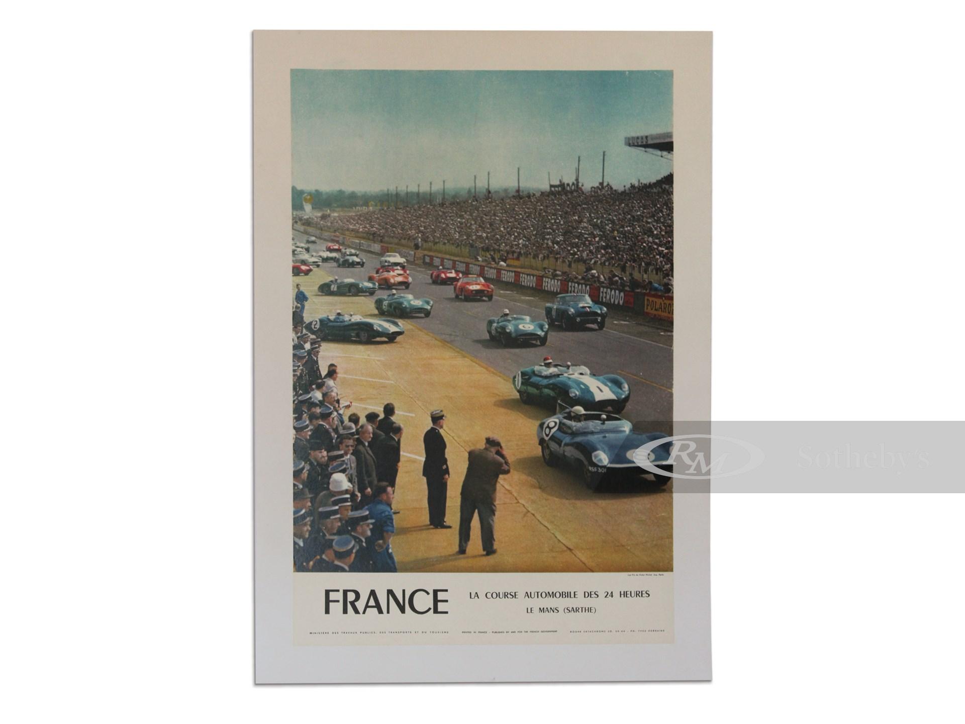 """""""France La Course Automobile des 24 Heures Le Mans (Sarthe)"""" Vintage French Government Event Poster, 1967 -"""