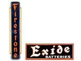 Exide and Firestone Signs - $