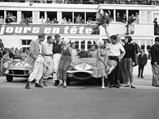 1955 Jaguar D-Type  - $Chassis no. XKD 501 pictured at the finish of the 1956 24 Hours of Le Mans along with the 2nd place Aston Martin DB3S of Sir Stirling Moss and Peter Collins.