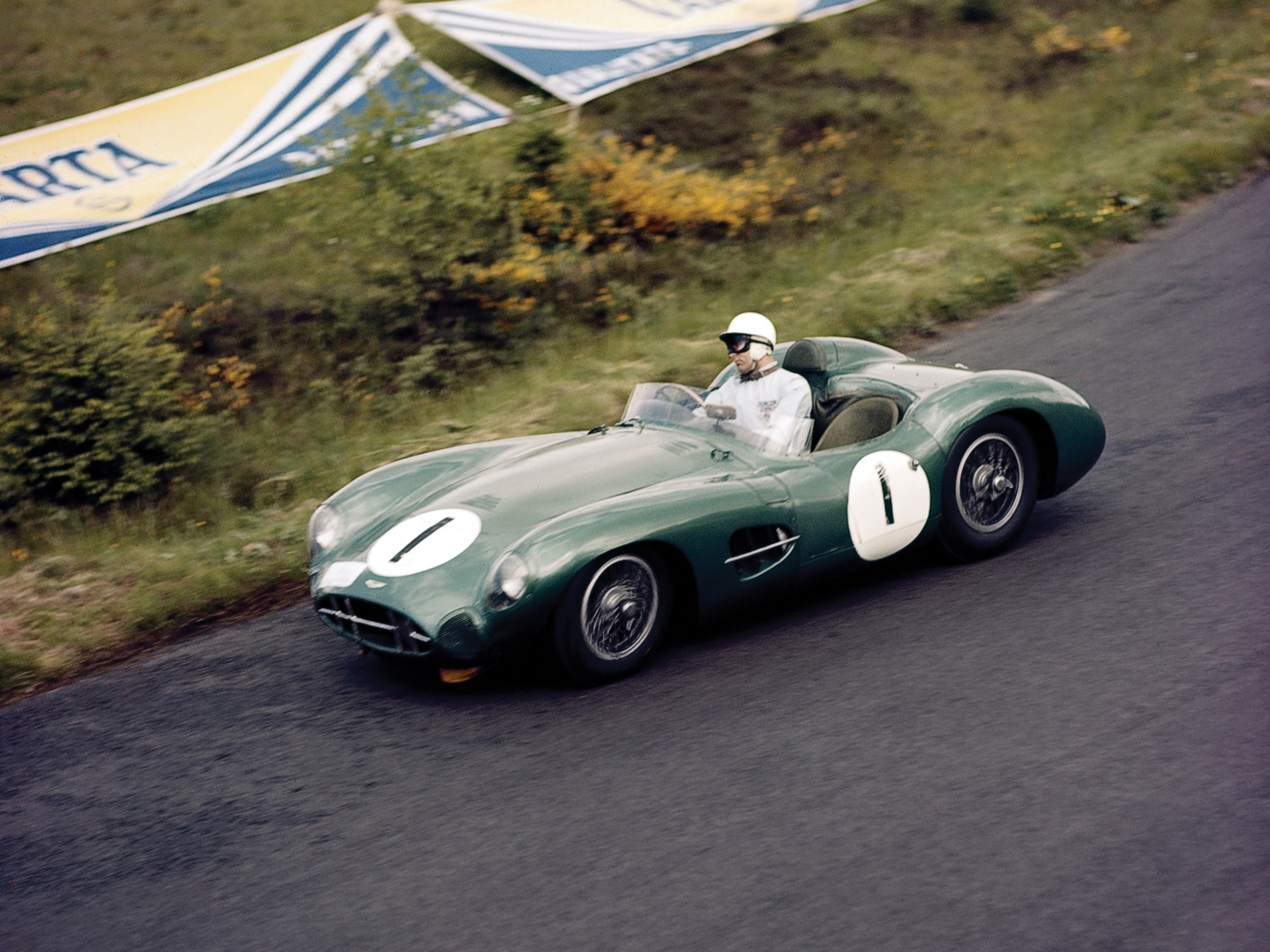 DBR1/1 races to a first place finish at the 1959 1000km of the Nürburgring.