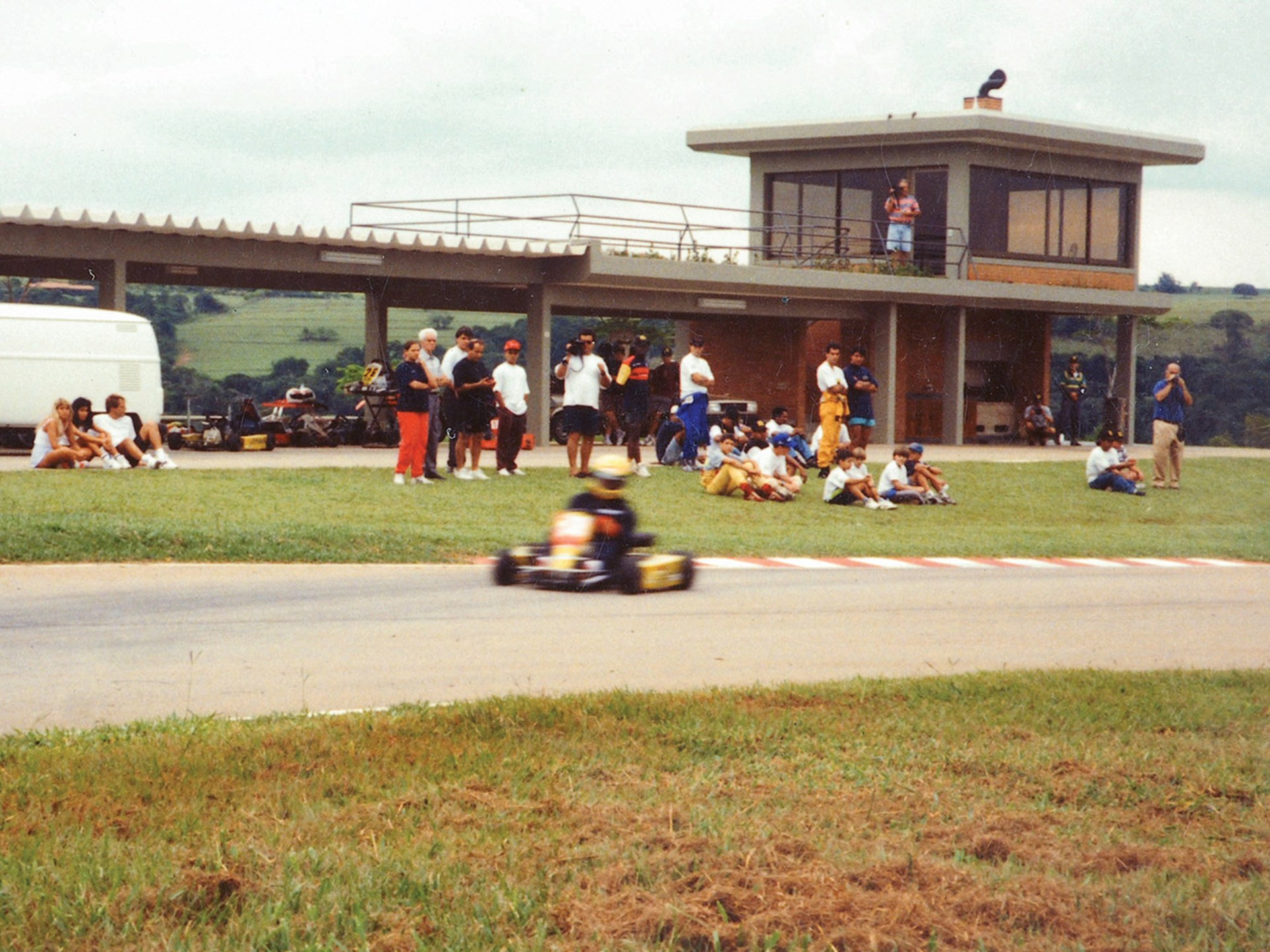 Senna driving the kart on his track.