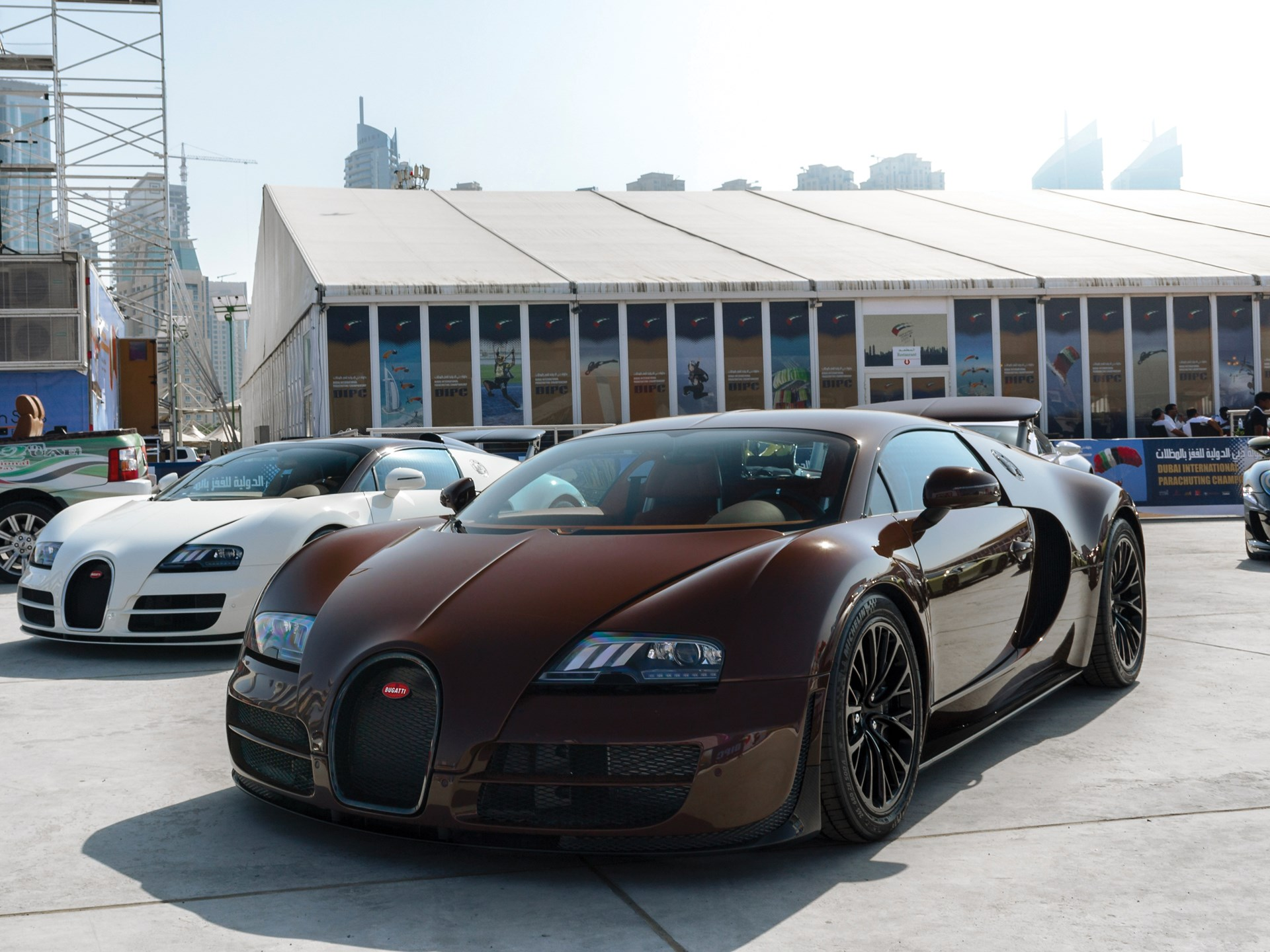 The Veyron as seen at the Dubai International Parachuting Championship in December of 2013.