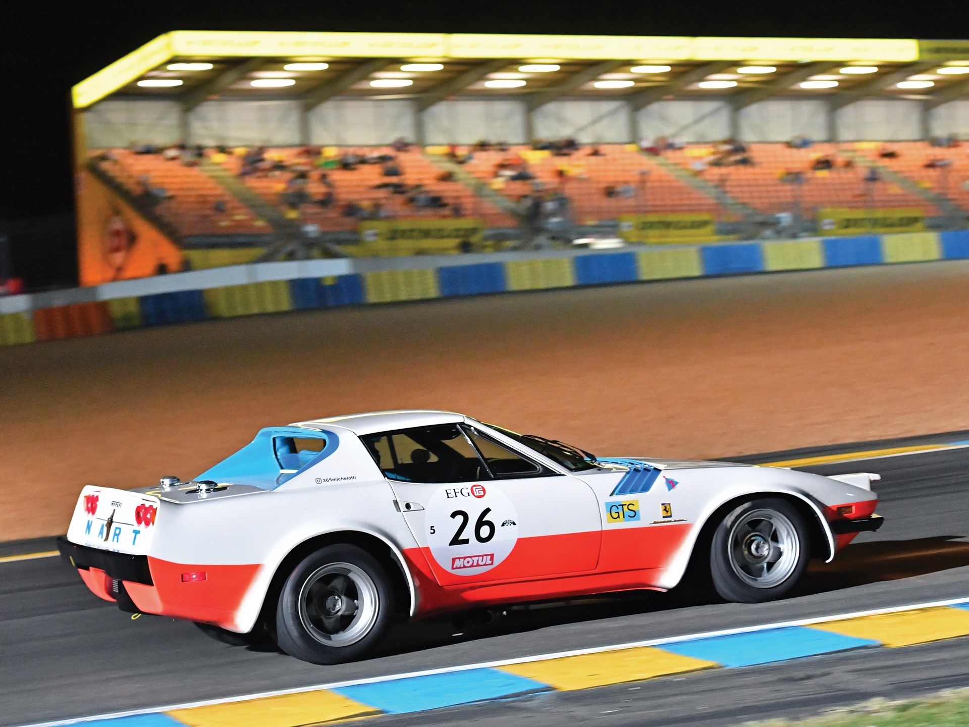 The 365 GTB/4 Spider Michelotti races through the night at the 2016 Le Mans Classic.