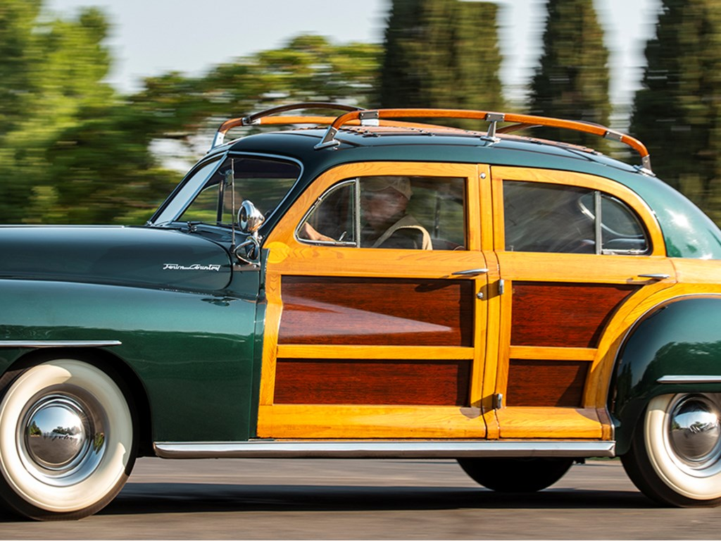 1948 Chrysler Town and Country Sedan offered at RM Sothebys Hershey Live Collector Car Auction 2021