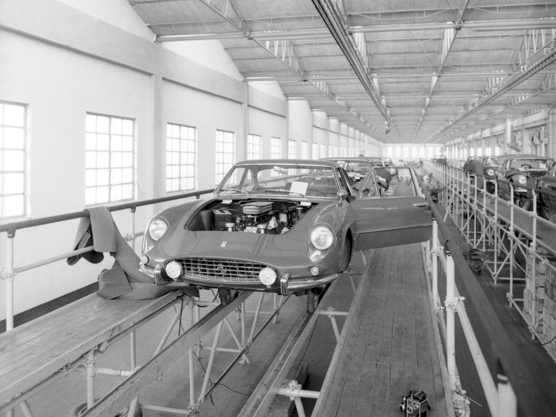 Chassis no. 3949 SA being assembled at Maranello.