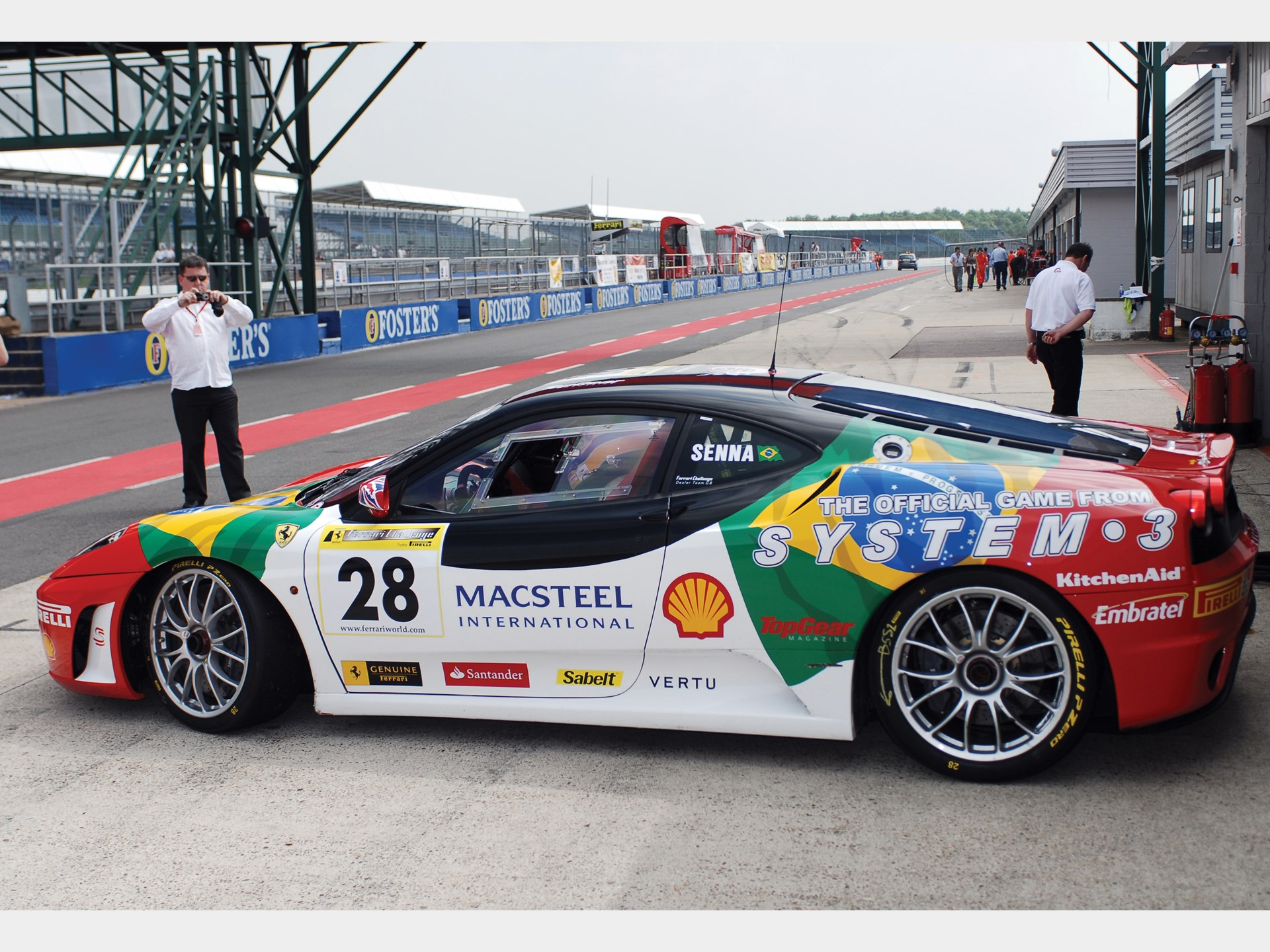 Bruno Senna at the wheel of the F430 Challenge at Silverstone in June 2007.