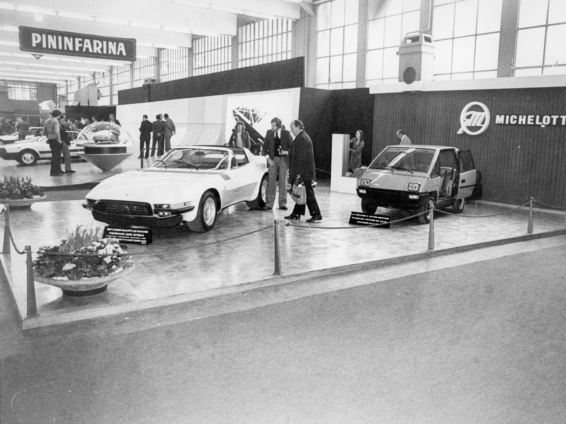 Chassis no. 15965 on the Michelotti stand at the 1975 Geneva Motor Show.
