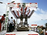 1990 Mitsubishi Galant VR-4 Group A  - $Patrick Tauziac and Claude Papin celebrate their victory at the 1990 Rallye Côte d'Ivoire Bandama.