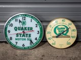 Quaker State Motor Oil Clock and Thermometer - $
