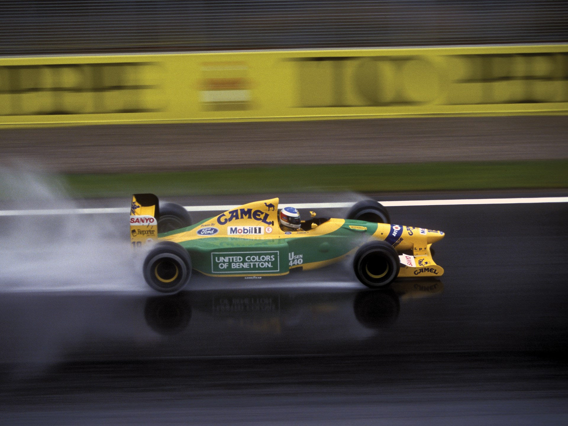 Michael Schumacher en route to a second place finish at the 1992 Spanish Grand Prix.