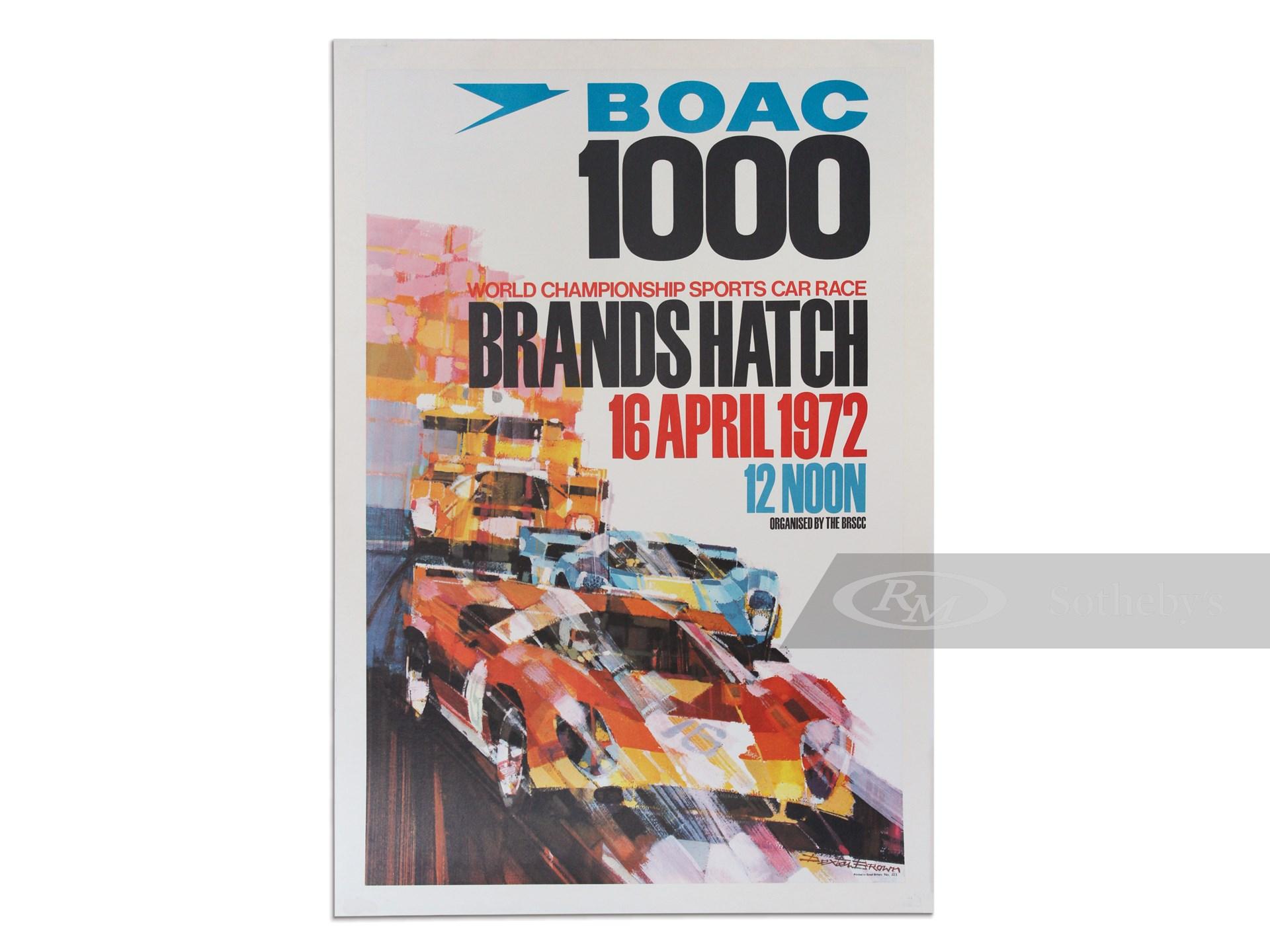 """BOAC 1000 World Championship Sports Car Race Brands Hatch 16 April 1972"" Vintage Event Poster -"