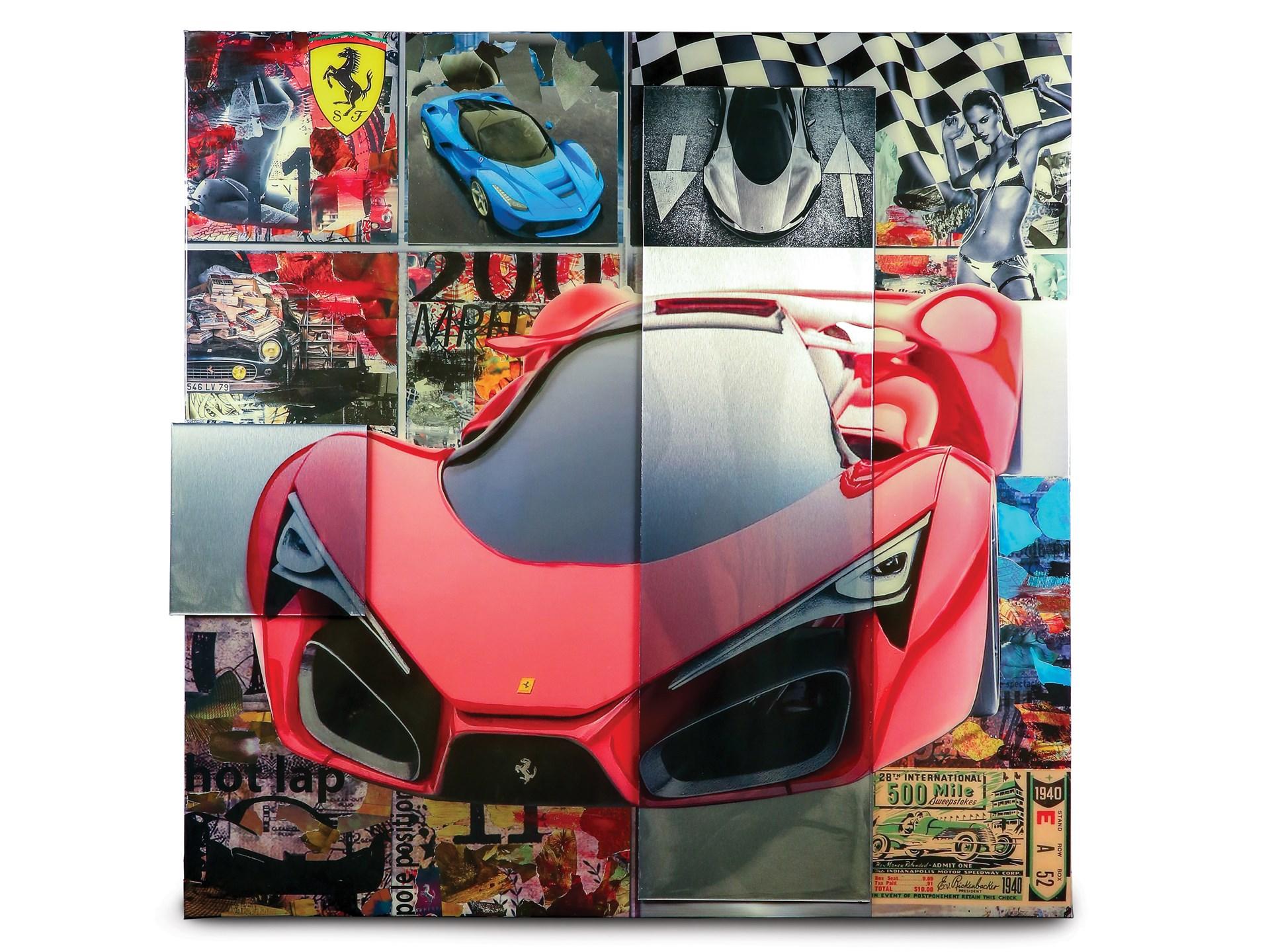 Ferrari Mixed Media Collage by DeVon